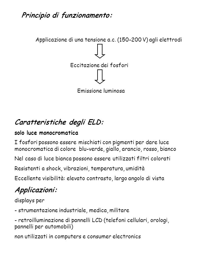 Caratteristiche degli ELD: solo luce monocromatica I fosfori possono essere mischiati con pigmenti per dare luce monocromatica di colore blu-verde, gi