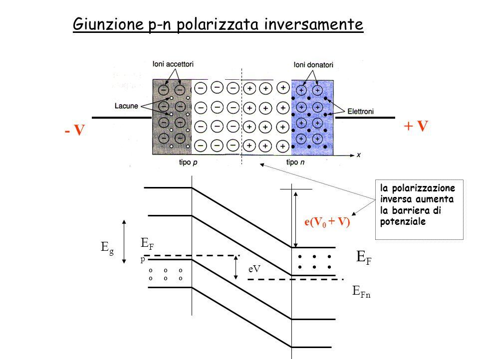 - V + V o o o... EFEF e(V 0 + V) EgEg eV E Fn EFpEFp Giunzione p-n polarizzata inversamente la polarizzazione inversa aumenta la barriera di potenzial