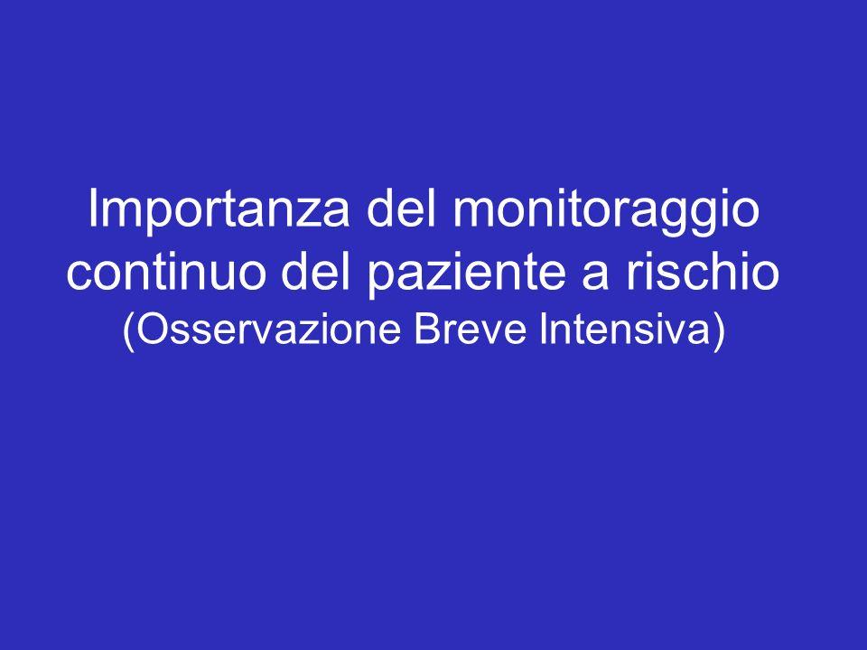 Importanza del monitoraggio continuo del paziente a rischio (Osservazione Breve Intensiva)
