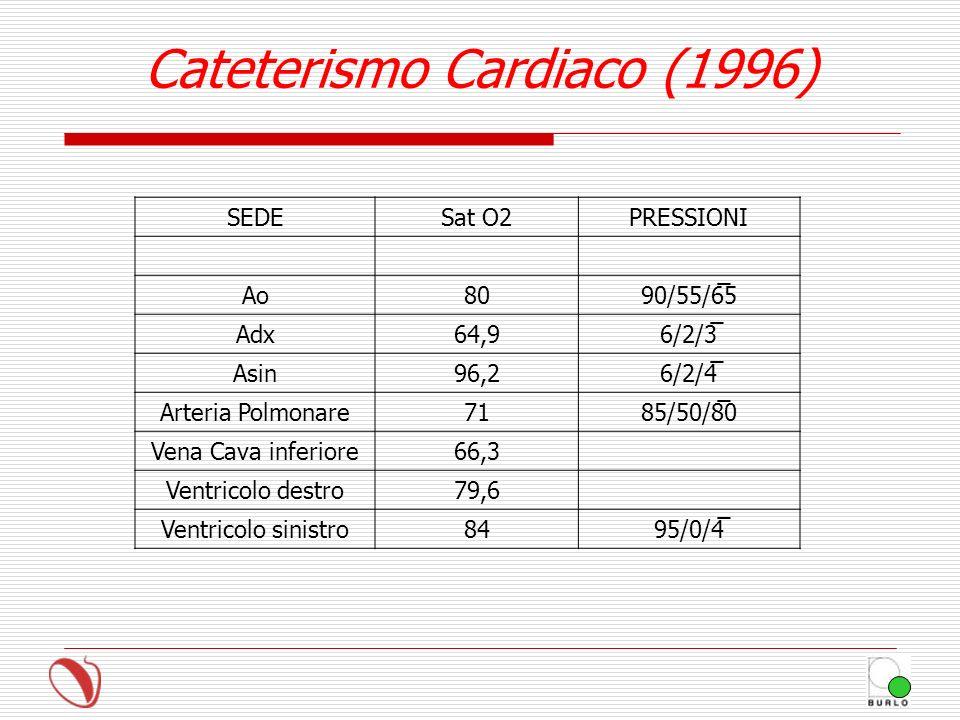 SEDESat O2PRESSIONI Ao8090/55/6̅5 Adx64,96/2/3̅ Asin96,26/2/4̅ Arteria Polmonare7185/50/8̅0 Vena Cava inferiore66,3 Ventricolo destro79,6 Ventricolo s