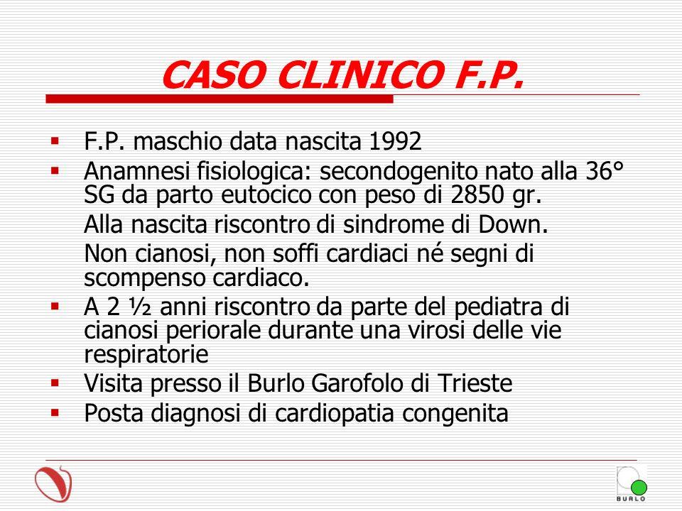 CASO CLINICO F.P. F.P. maschio data nascita 1992 Anamnesi fisiologica: secondogenito nato alla 36° SG da parto eutocico con peso di 2850 gr. Alla nasc