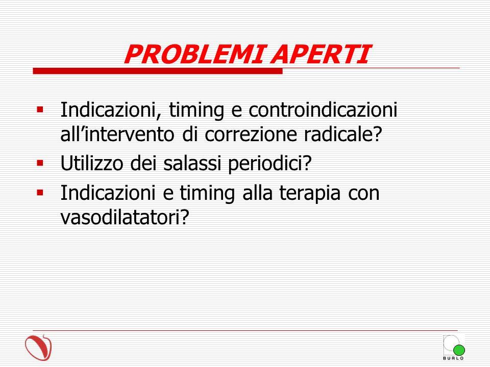 PROBLEMI APERTI Indicazioni, timing e controindicazioni allintervento di correzione radicale? Utilizzo dei salassi periodici? Indicazioni e timing all