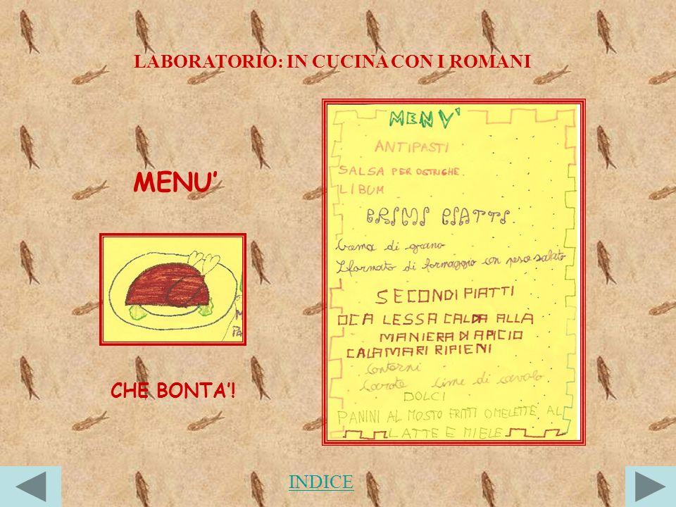 LABORATORIO: IN CUCINA CON I ROMANI MENU CHE BONTA! INDICE
