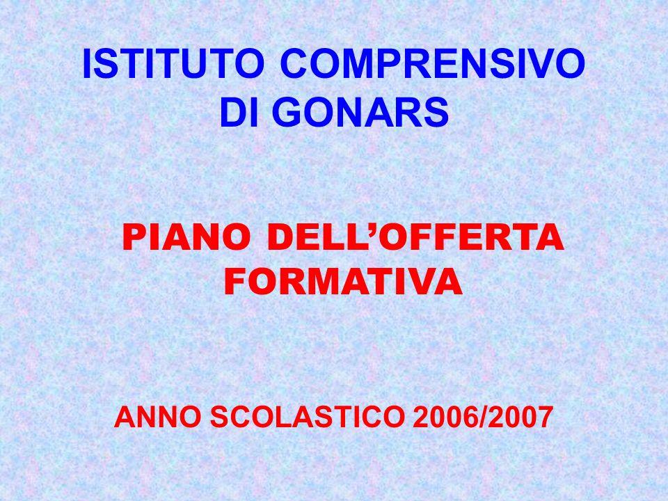 ISTITUTO COMPRENSIVO DI GONARS ANNO SCOLASTICO 2006/2007 PIANO DELLOFFERTA FORMATIVA
