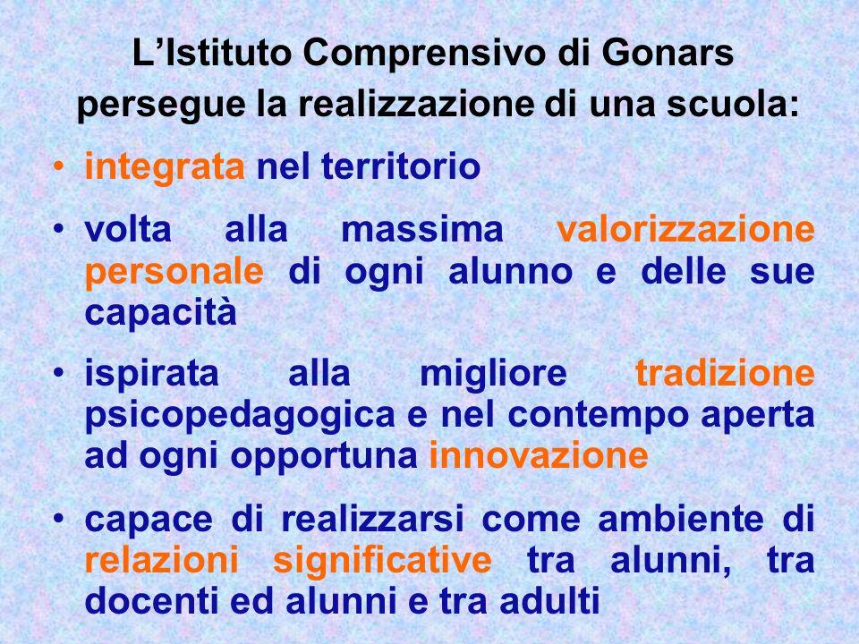 LIstituto Comprensivo di Gonars persegue la realizzazione di una scuola: integrata nel territorio volta alla massima valorizzazione personale di ogni