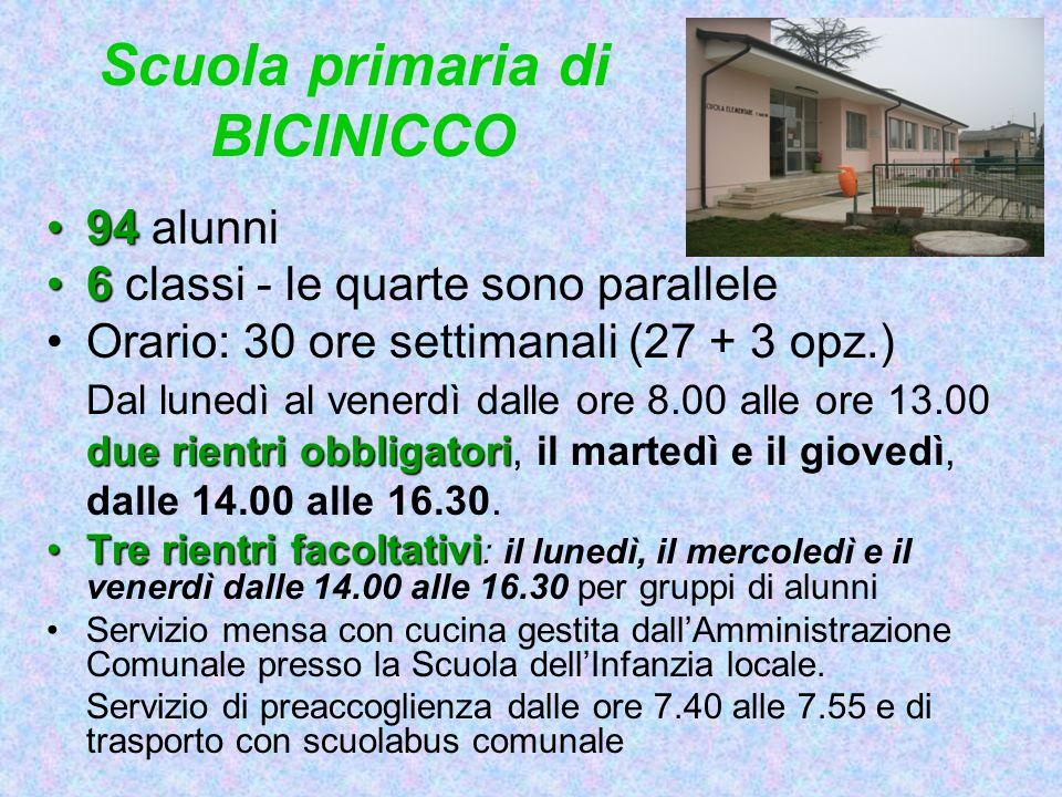 Scuola primaria di BICINICCO 9494 alunni 66 classi - le quarte sono parallele Orario: 30 ore settimanali (27 + 3 opz.) Dal lunedì al venerdì dalle ore