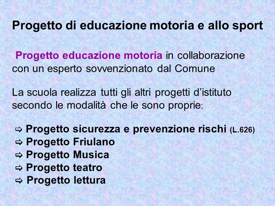 Progetto di educazione motoria e allo sport Progetto educazione motoria in collaborazione con un esperto sovvenzionato dal Comune La scuola realizza t