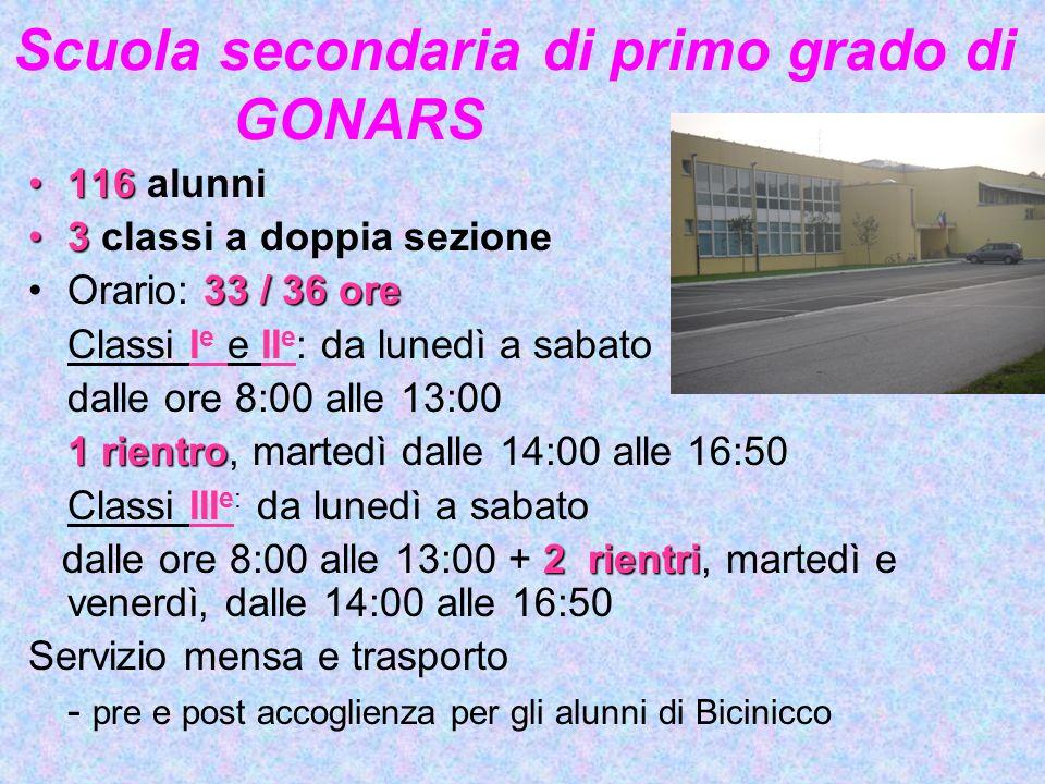 Scuola secondaria di primo grado di GONARS. 116116 alunni 33 classi a doppia sezione 33/36oreOrario: 33 / 36 ore Classi I e e II e : da lunedì a sabat