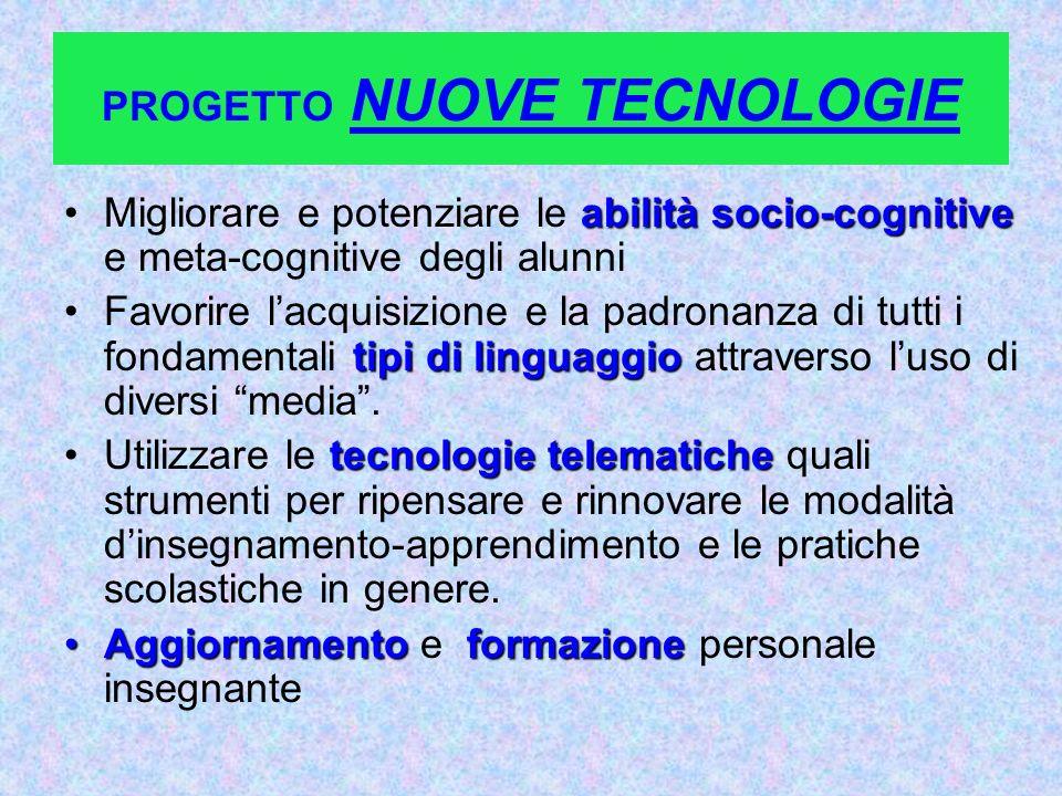 PROGETTO NUOVE TECNOLOGIE abilità socio-cognitiveMigliorare e potenziare le abilità socio-cognitive e meta-cognitive degli alunni tipi di linguaggioFa