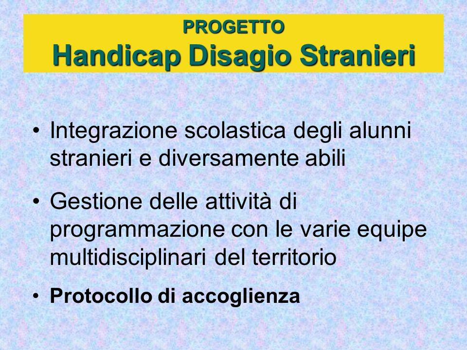 PROGETTO Handicap Disagio Stranieri Integrazione scolastica degli alunni stranieri e diversamente abili Gestione delle attività di programmazione con