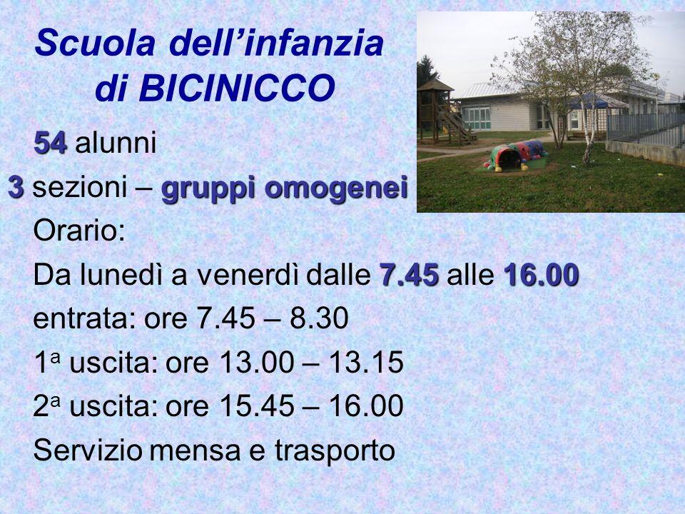 Scuola dellinfanzia di BICINICCO 54 54 alunni 3gruppi omogenei 3 sezioni – gruppi omogenei Orario: 7.4516.00 Da lunedì a venerdì dalle 7.45 alle 16.00