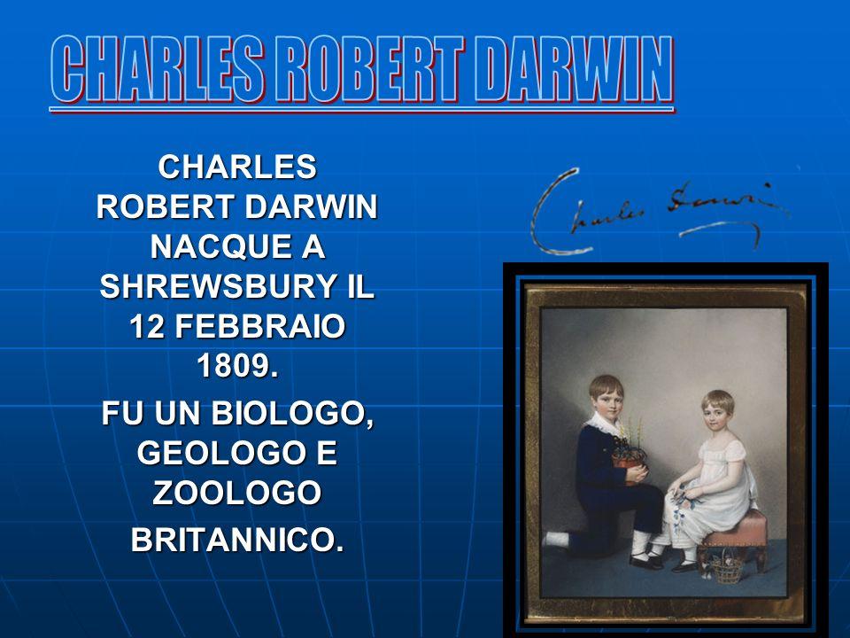 CHARLES ROBERT DARWIN NACQUE A SHREWSBURY IL 12 FEBBRAIO 1809. FU UN BIOLOGO, GEOLOGO E ZOOLOGO BRITANNICO.