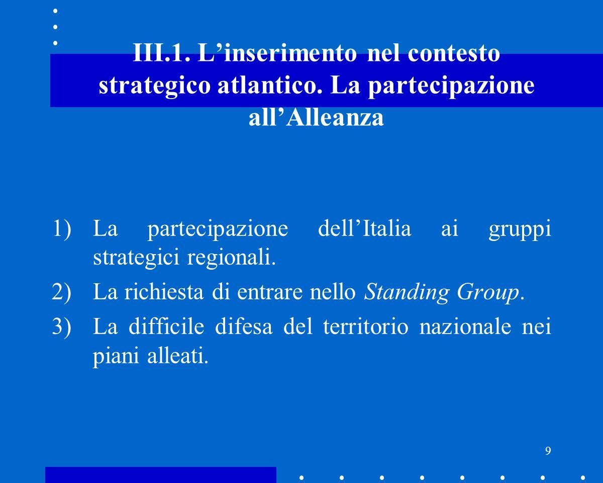 10 III.2.Linserimento nel contesto strategico atlantico.