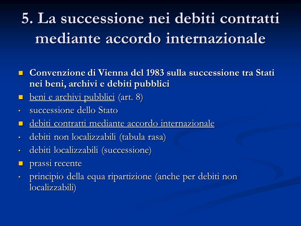 5. La successione nei debiti contratti mediante accordo internazionale Convenzione di Vienna del 1983 sulla successione tra Stati nei beni, archivi e