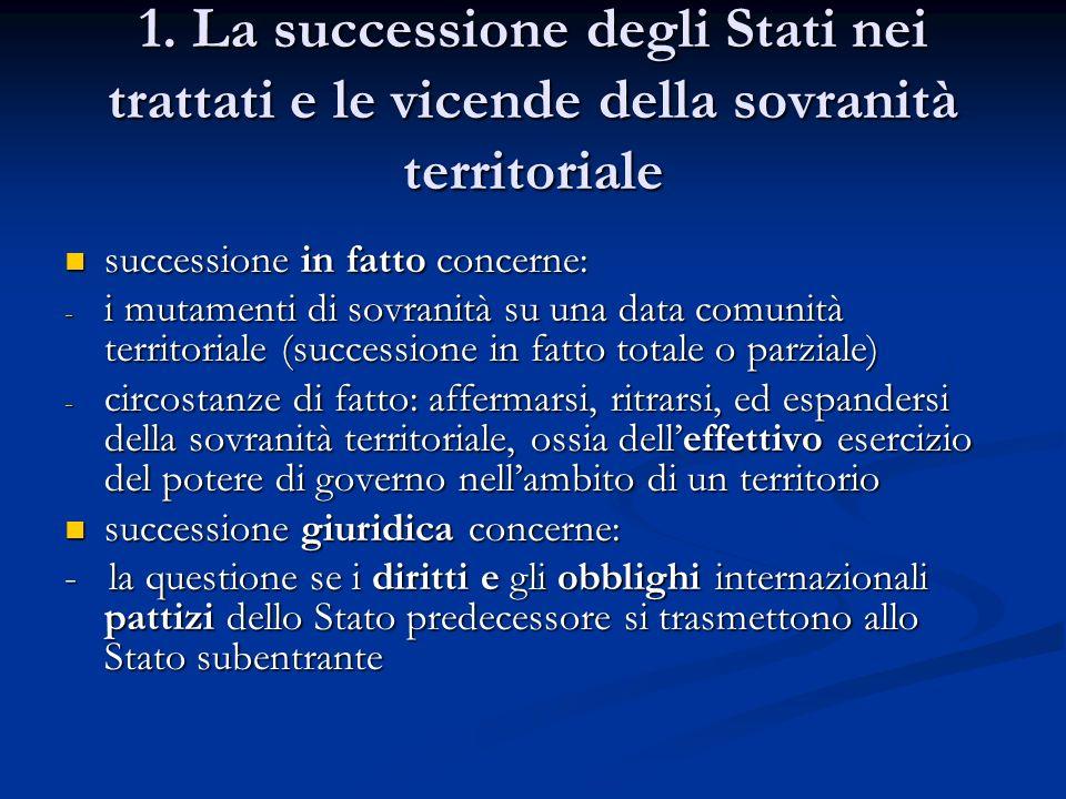 1. La successione degli Stati nei trattati e le vicende della sovranità territoriale successione in fatto concerne: successione in fatto concerne: - i