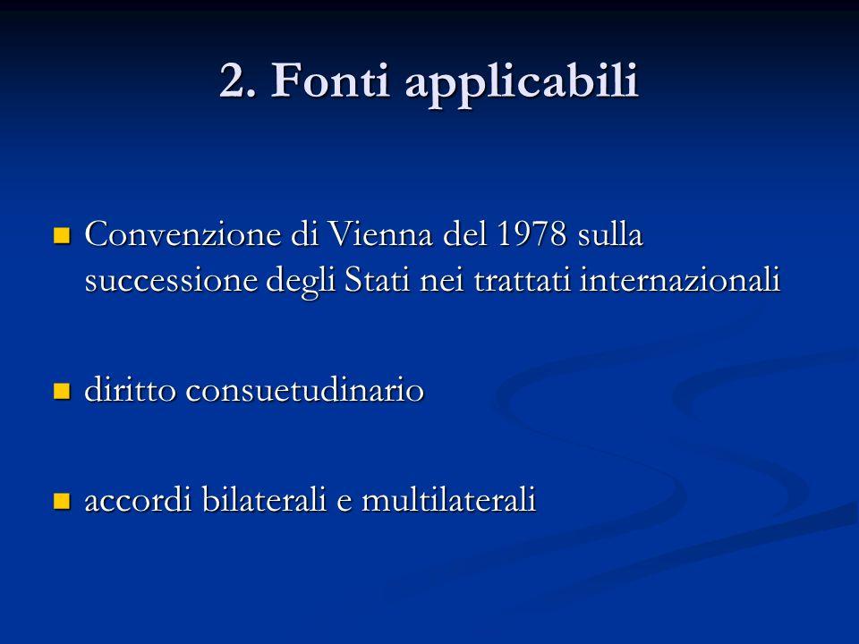2. Fonti applicabili Convenzione di Vienna del 1978 sulla successione degli Stati nei trattati internazionali Convenzione di Vienna del 1978 sulla suc