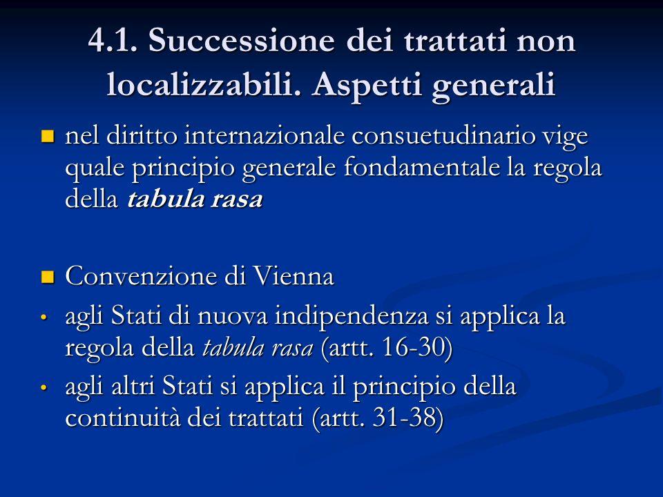 4.1. Successione dei trattati non localizzabili. Aspetti generali nel diritto internazionale consuetudinario vige quale principio generale fondamental