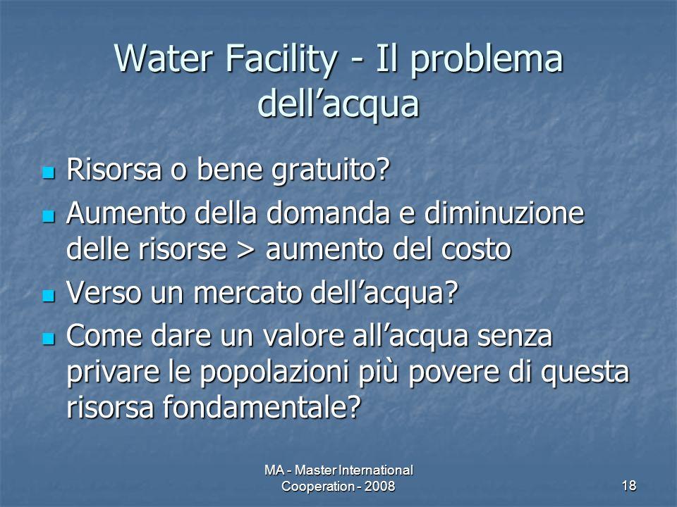 MA - Master International Cooperation - 200818 Water Facility - Il problema dellacqua Risorsa o bene gratuito.