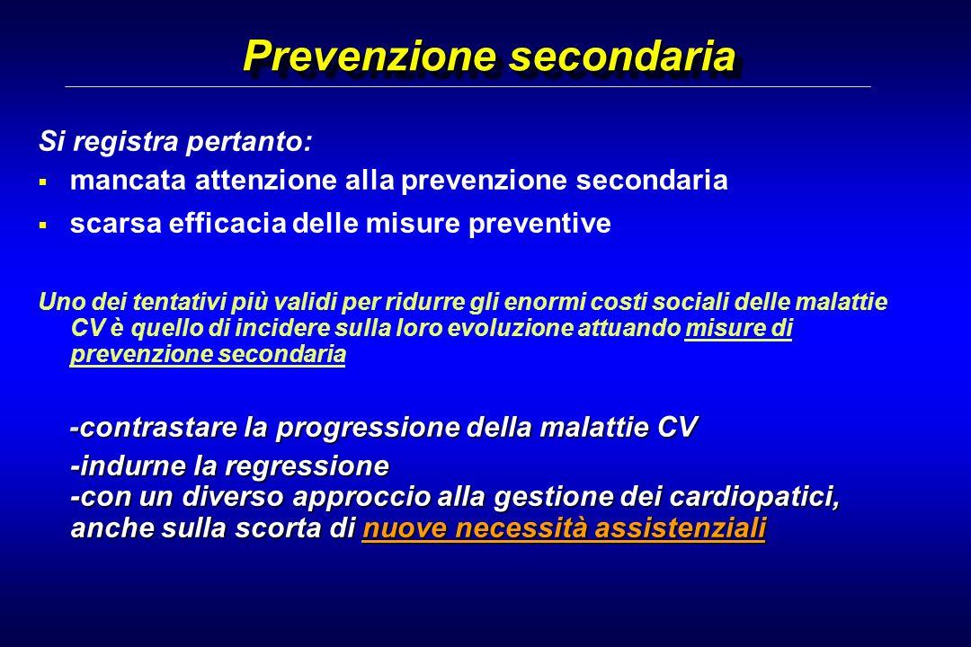 Prevenzione secondaria Si registra pertanto: mancata attenzione alla prevenzione secondaria scarsa efficacia delle misure preventive Uno dei tentativi