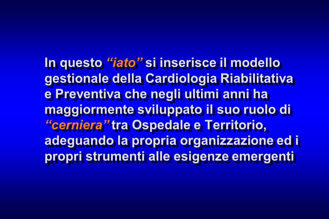 In questo iato si inserisce il modello gestionale della Cardiologia Riabilitativa e Preventiva che negli ultimi anni ha maggiormente sviluppato il suo