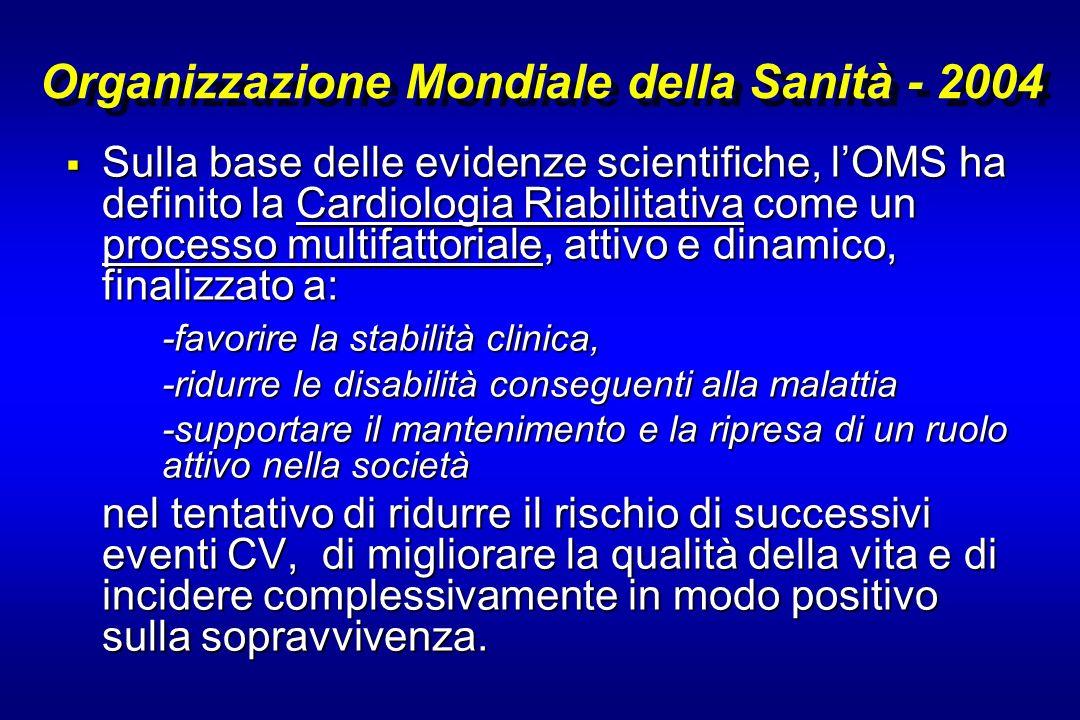 Organizzazione Mondiale della Sanità - 2004 Sulla base delle evidenze scientifiche, lOMS ha definito la Cardiologia Riabilitativa come un processo mul