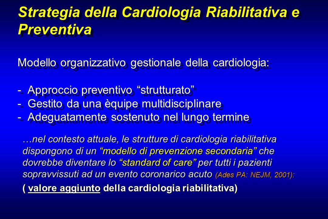 …nel contesto attuale, le strutture di cardiologia riabilitativa dispongono di un modello di prevenzione secondaria che dovrebbe diventare lo standard