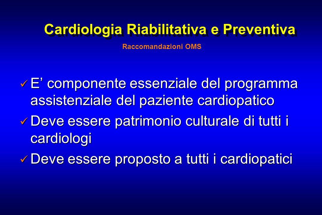 Cardiologia Riabilitativa e Preventiva E componente essenziale del programma assistenziale del paziente cardiopatico E componente essenziale del progr