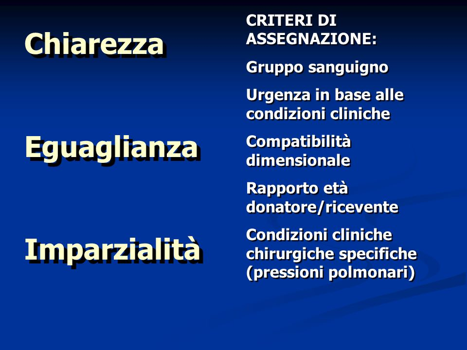 Chiarezza Eguaglianza Imparzialità Chiarezza Eguaglianza Imparzialità CRITERI DI ASSEGNAZIONE: Gruppo sanguigno Urgenza in base alle condizioni clinic