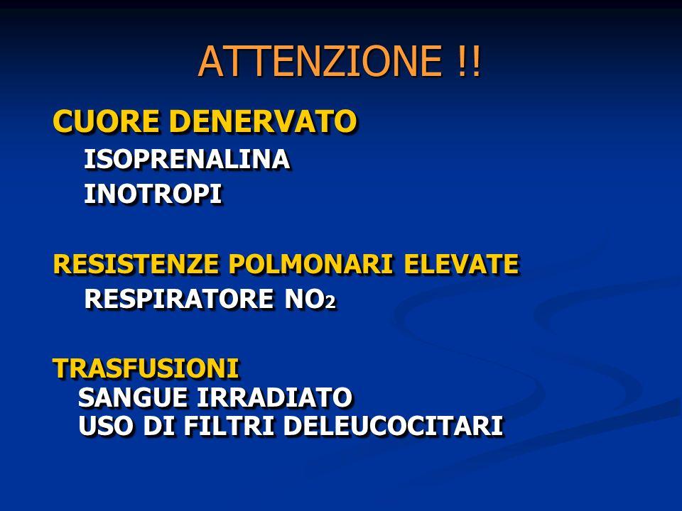 ATTENZIONE !! CUORE DENERVATO ISOPRENALINA ISOPRENALINA INOTROPI INOTROPI RESISTENZE POLMONARI ELEVATE RESPIRATORE NO 2 RESPIRATORE NO 2 TRASFUSIONI S
