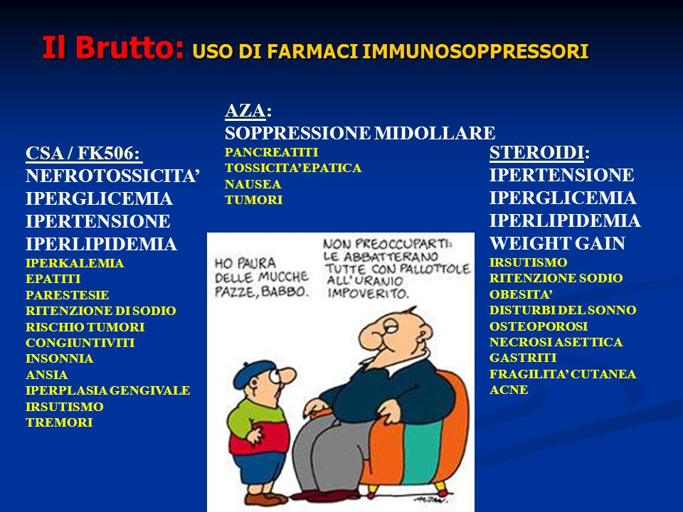 CSA / FK506: NEFROTOSSICITA IPERGLICEMIA IPERTENSIONE IPERLIPIDEMIA IPERKALEMIA EPATITI PARESTESIE RITENZIONE DI SODIO RISCHIO TUMORI CONGIUNTIVITI IN