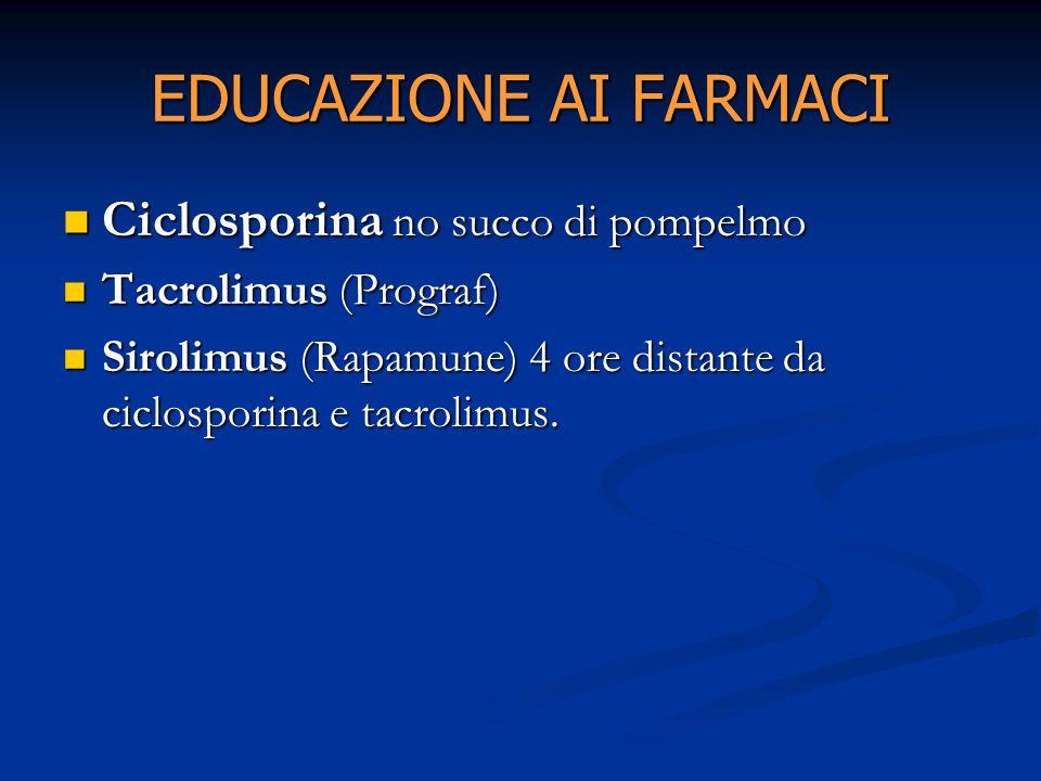 EDUCAZIONE AI FARMACI Ciclosporina no succo di pompelmo Ciclosporina no succo di pompelmo Tacrolimus (Prograf) Tacrolimus (Prograf) Sirolimus (Rapamun