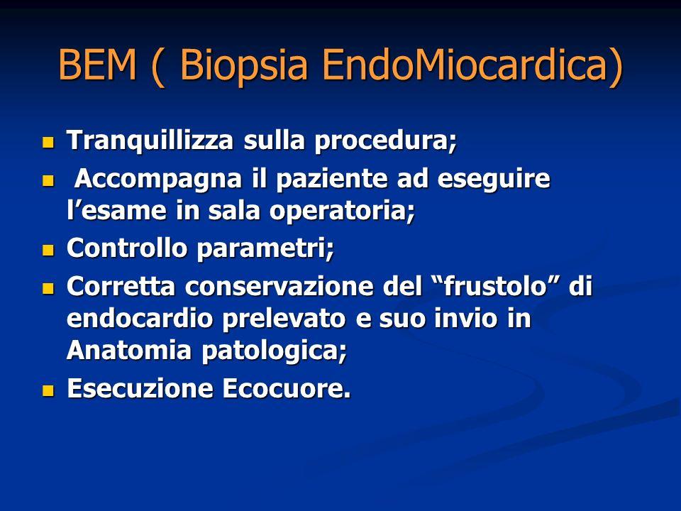 BEM ( Biopsia EndoMiocardica) Tranquillizza sulla procedura; Tranquillizza sulla procedura; Accompagna il paziente ad eseguire lesame in sala operator