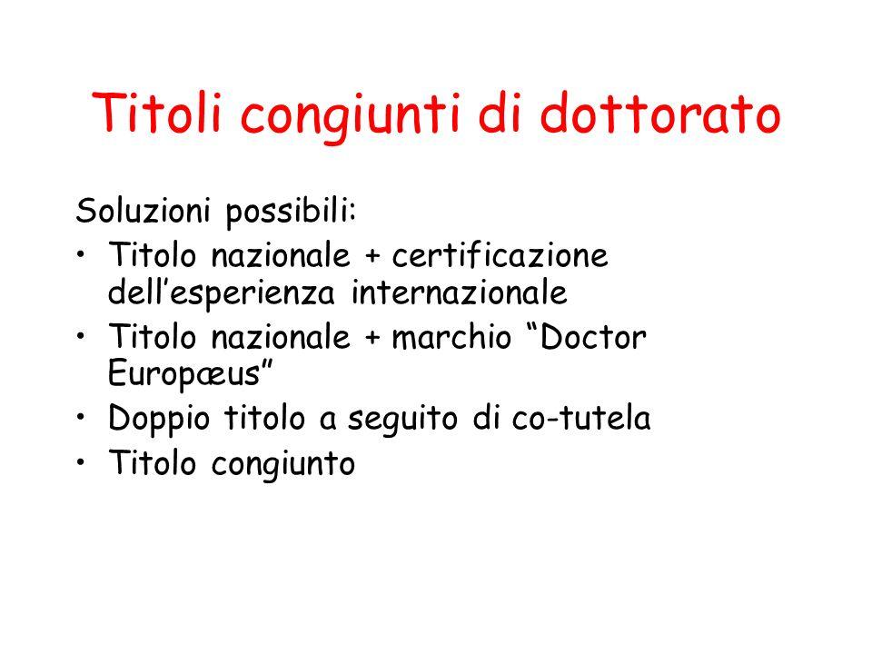 Titoli congiunti di dottorato Soluzioni possibili: Titolo nazionale + certificazione dellesperienza internazionale Titolo nazionale + marchio Doctor E