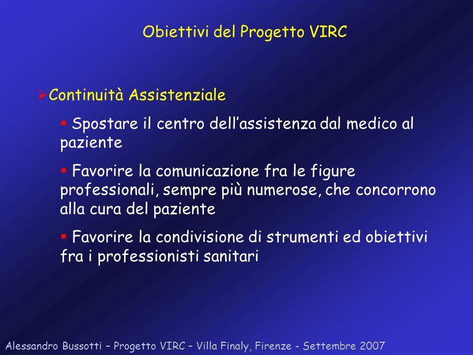Alessandro Bussotti – Progetto VIRC – Villa Finaly, Firenze - Settembre 2007 Continuità Assistenziale Spostare il centro dellassistenza dal medico al