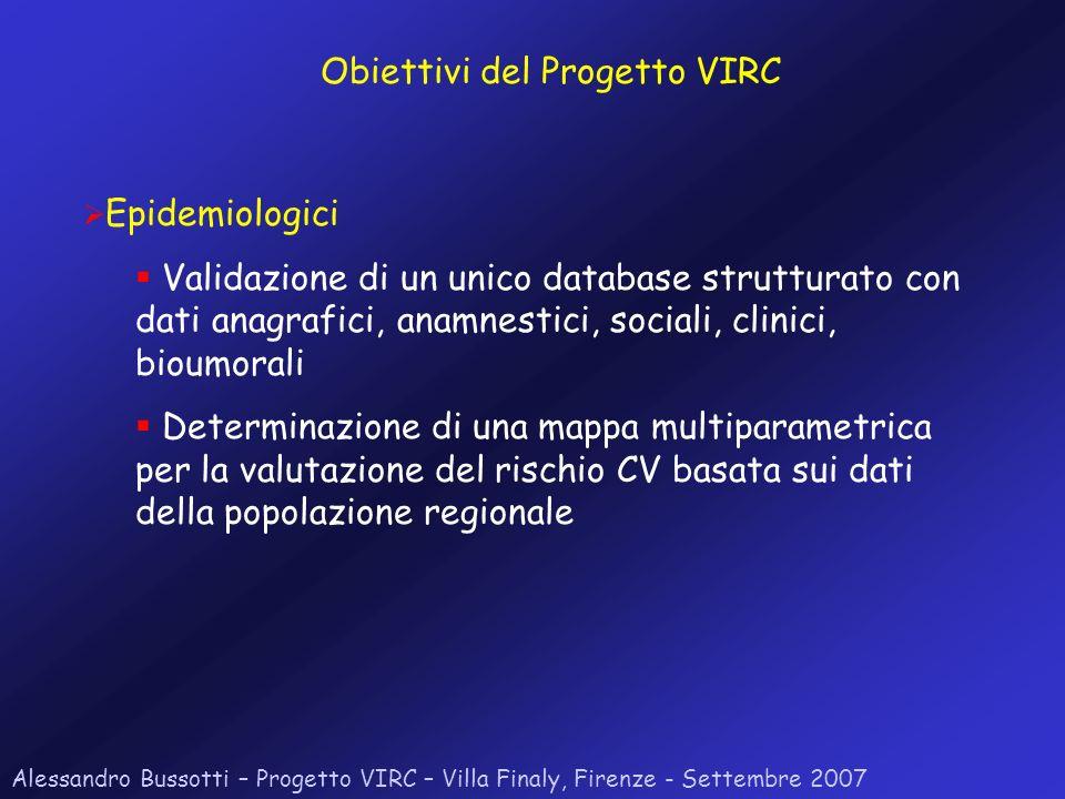 Alessandro Bussotti – Progetto VIRC – Villa Finaly, Firenze - Settembre 2007 Epidemiologici Validazione di un unico database strutturato con dati anag