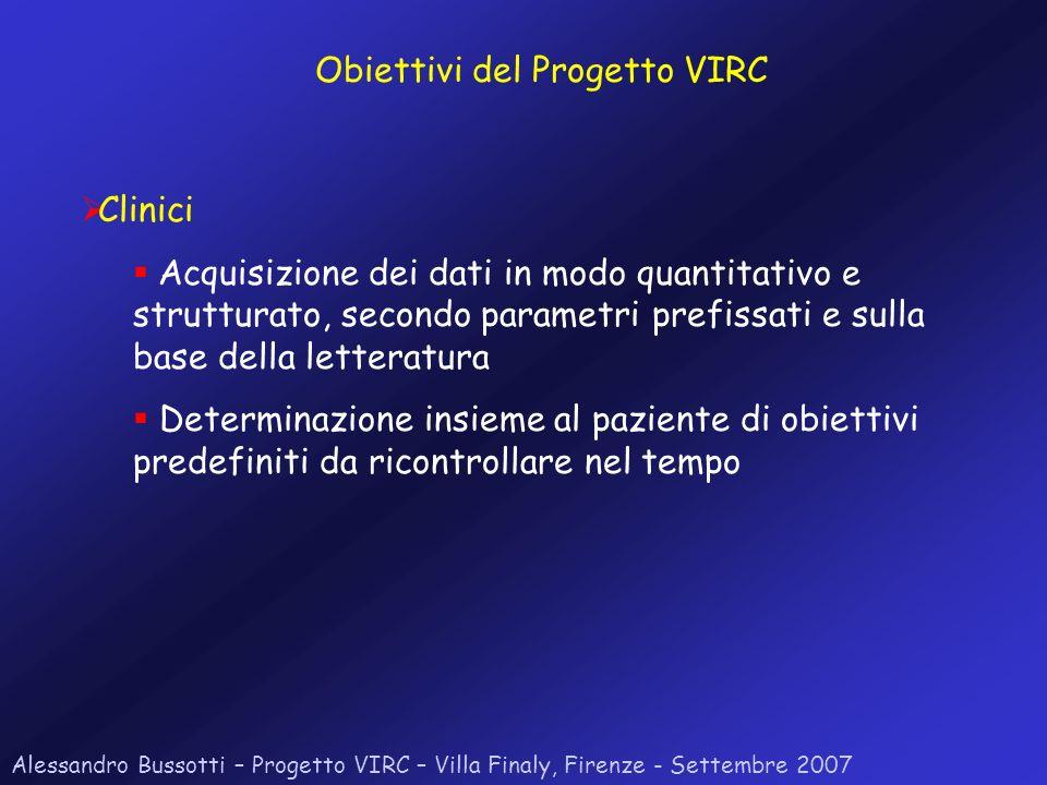 Alessandro Bussotti – Progetto VIRC – Villa Finaly, Firenze - Settembre 2007 Clinici Acquisizione dei dati in modo quantitativo e strutturato, secondo