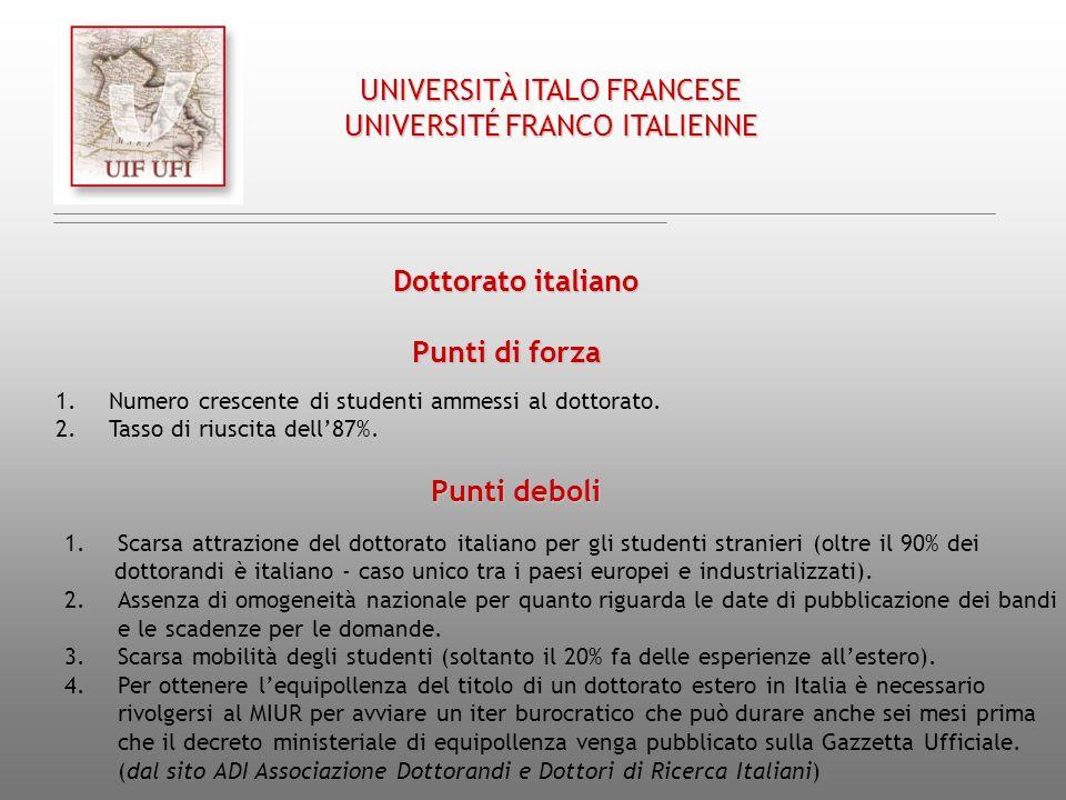 Dottorato italiano Punti deboli 1.Scarsa attrazione del dottorato italiano per gli studenti stranieri (oltre il 90% dei dottorandi è italiano - caso u