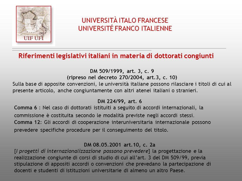 DM 509/1999, art. 3, c. 9 (ripreso nel decreto 270/2004, art.3, c. 10) Sulla base di apposite convenzioni, le università italiane possono rilasciare i