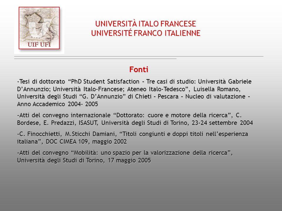 Chap. III/ Cap. III UNIVERSITÀ ITALO FRANCESE UNIVERSITÉ FRANCO ITALIENNE Fonti -Tesi di dottorato PhD Student Satisfaction – Tre casi di studio: Univ