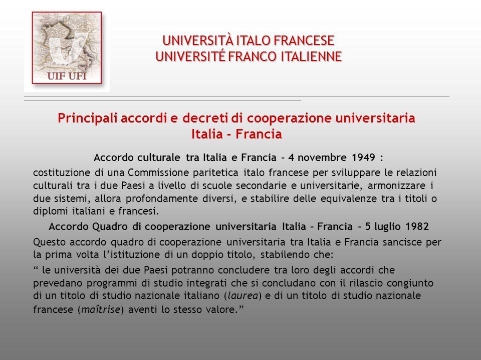 UNIVERSITÀ ITALO FRANCESE UNIVERSITÉ FRANCO ITALIENNE Principali accordi e decreti di cooperazione universitaria Italia - Francia Accordo culturale tr