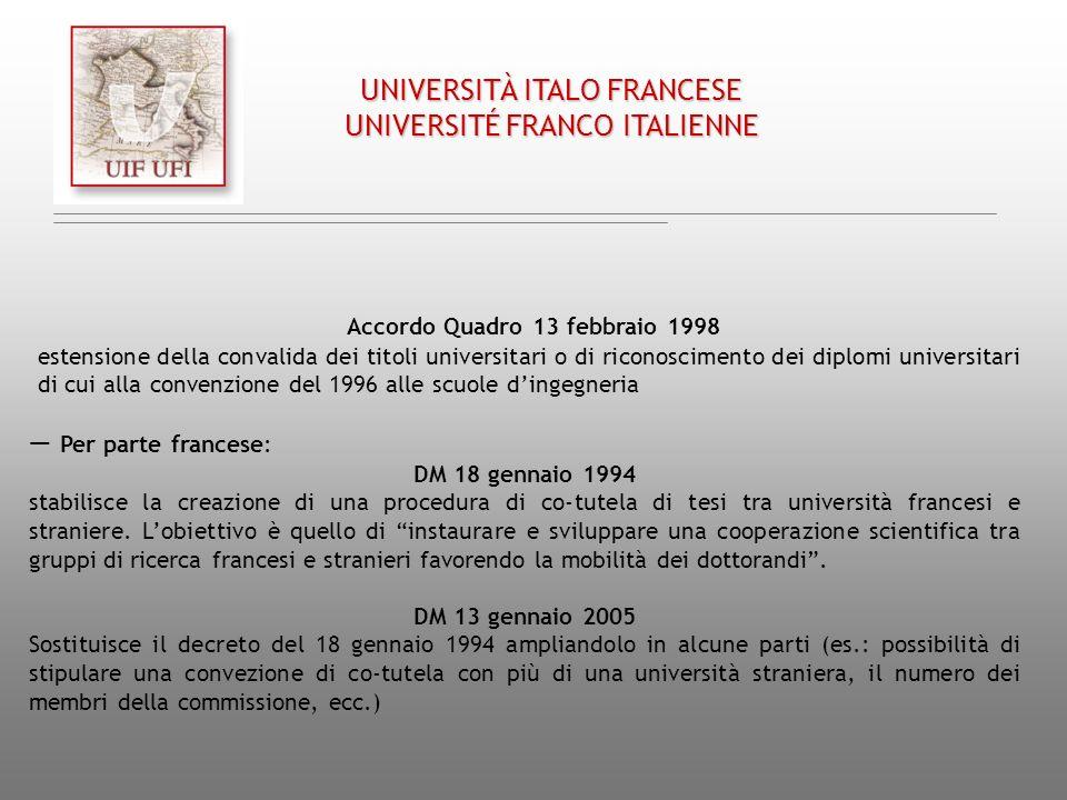 Accordo Quadro 13 febbraio 1998 estensione della convalida dei titoli universitari o di riconoscimento dei diplomi universitari di cui alla convenzion