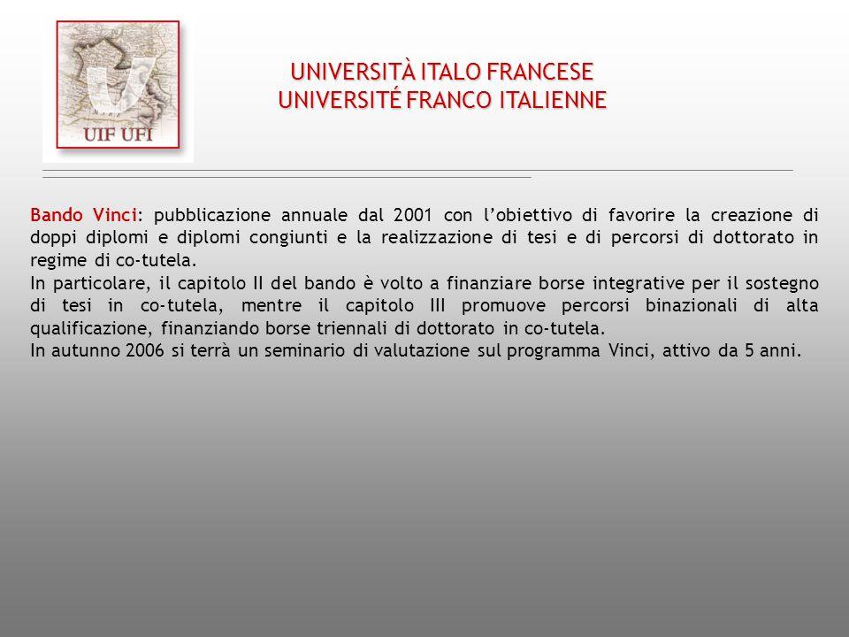 UNIVERSITÀ ITALO FRANCESE UNIVERSITÉ FRANCO ITALIENNE Bando Vinci: pubblicazione annuale dal 2001 con lobiettivo di favorire la creazione di doppi dip