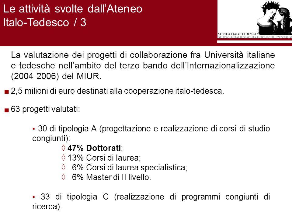 La valutazione dei progetti di collaborazione fra Università italiane e tedesche nellambito del terzo bando dellInternazionalizzazione (2004-2006) del MIUR.