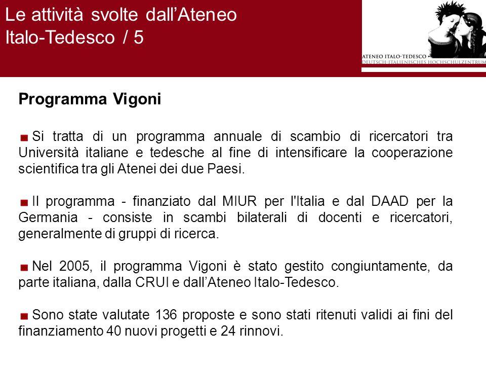 Programma Vigoni Si tratta di un programma annuale di scambio di ricercatori tra Università italiane e tedesche al fine di intensificare la cooperazione scientifica tra gli Atenei dei due Paesi.