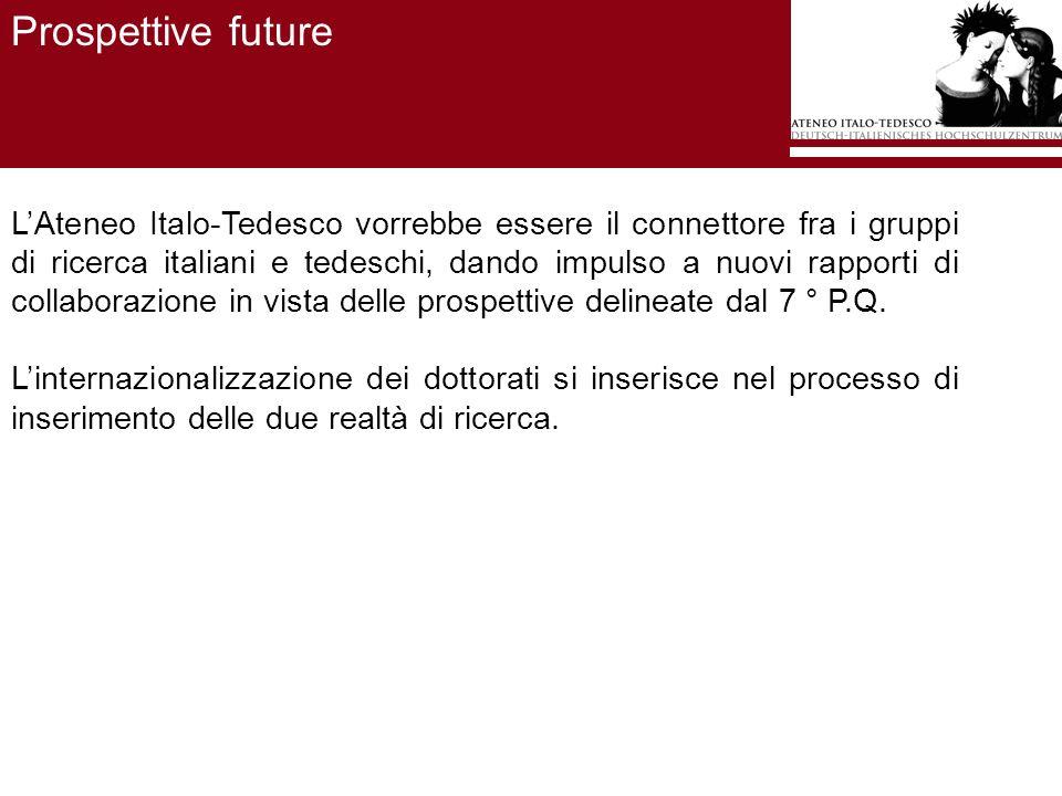 LAteneo Italo-Tedesco vorrebbe essere il connettore fra i gruppi di ricerca italiani e tedeschi, dando impulso a nuovi rapporti di collaborazione in vista delle prospettive delineate dal 7 ° P.Q.