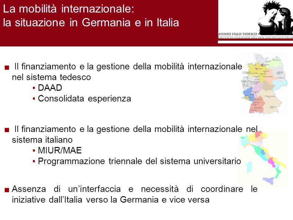 La costituzione dellAteneo Italo-Tedesco / 1 In Italia, nel campo accademico, le relazioni bilaterali con la Germania erano principalmente costituite: Dai rapporti bilaterali fra Atenei; Dalle attività del centro italo-tedesco Villa Vigoni in Italia; Dagli scambi soprattutto grazie ai fondi del progetto Erasmus/Socrates.
