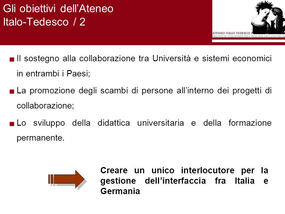 Gli obiettivi dellAteneo Italo-Tedesco / 2 Il sostegno alla collaborazione tra Università e sistemi economici in entrambi i Paesi; La promozione degli scambi di persone allinterno dei progetti di collaborazione; Lo sviluppo della didattica universitaria e della formazione permanente.