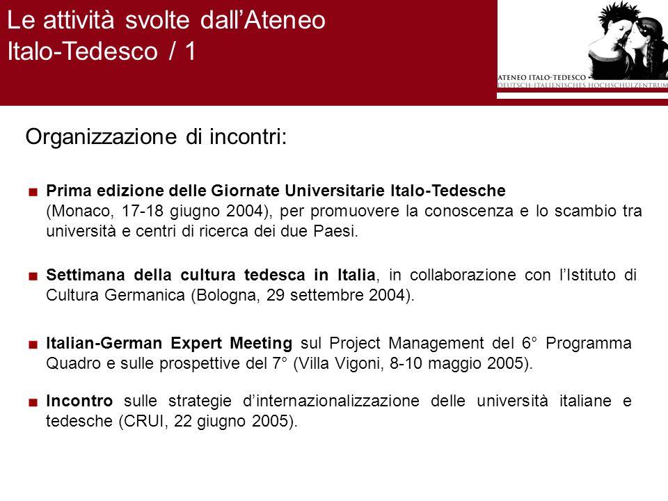 Le attività svolte dallAteneo Italo-Tedesco / 1 Organizzazione di incontri: Prima edizione delle Giornate Universitarie Italo-Tedesche (Monaco, 17-18 giugno 2004), per promuovere la conoscenza e lo scambio tra università e centri di ricerca dei due Paesi.