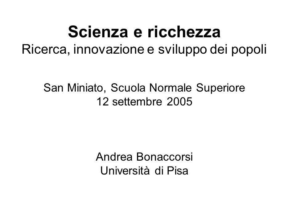 Source: Bonaccorsi (2001) on TechLine data Intensità di conoscenza scientifica nella produzione industriale (citazioni a pubblicazioni scientifiche nei brevetti)