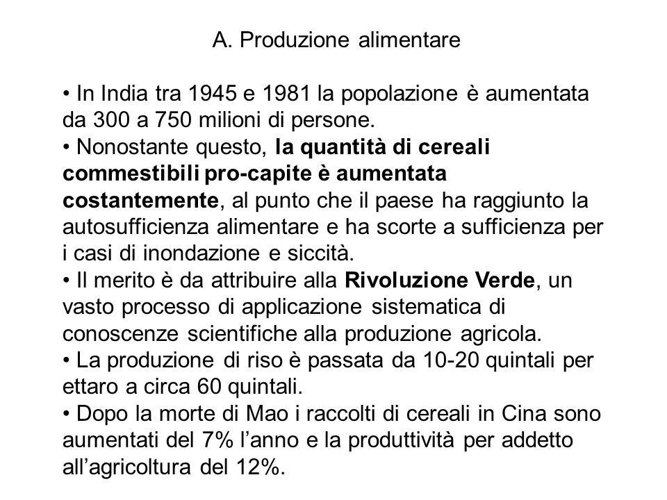A. Produzione alimentare In India tra 1945 e 1981 la popolazione è aumentata da 300 a 750 milioni di persone. Nonostante questo, la quantità di cereal